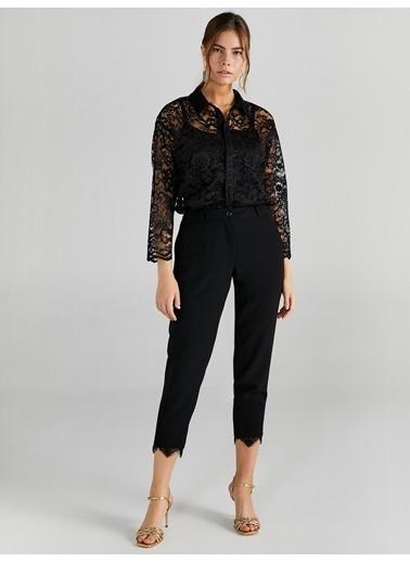Faik Sönmez  Paçası Dantel Detaylı Slim Fit Pantolon 61534 Siyah